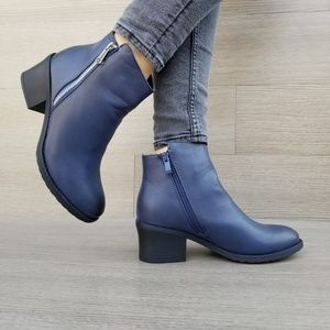 Shoes - Navy Faux Leather Ankle Booties